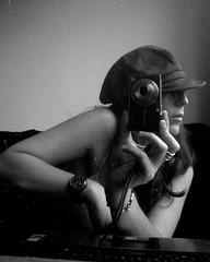 life in black and white - io (monyart) Tags: camera light blackandwhite woman selfportrait reflection cute me girl beautiful hat amsterdam hair myself sweet feminine lips sensual reflected girlpower autoritratto emotions biancoenero goodlife monyart