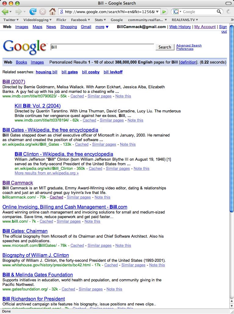 "Today's ""Bill"" Google Standings"