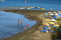 Beach at Pervolia (-Filippos-) Tags: sea summer sun umbrella sand mediterranean cyprus  kipr pervolia  kipros     beachplaz
