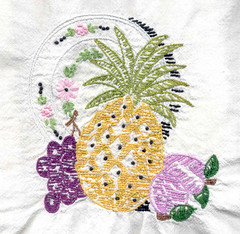 Vintage embroidered dishtowel with fruit motif