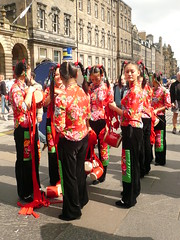 Edinburgh Fringe: Drum-Drama (chairmanblueslovakia) Tags: street girls cute festival female asian scotland high edinburgh all dress drum expression chinese band silk royal fringe velvet pigtails drama mile haughty