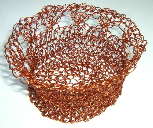 Small copper wire basket, crocheted in brown and gold copper wire