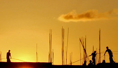 Builders (Musfeque [Away]) Tags: sunset builders dhaka bangladesh constraction goldenglobe orangesunset dscw100 aplusphoto musfeque