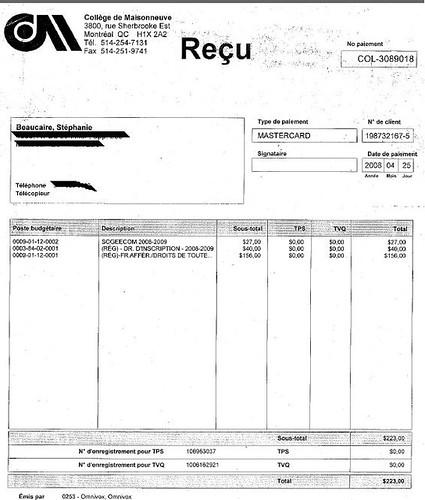 reçu de paiement de frais de scolarité