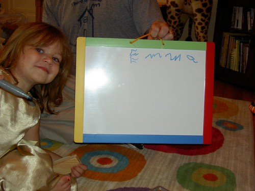 Emma writes her name!