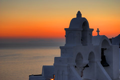 Aegean Sunset (MarcelGermain) Tags: travel light sunset red sea summer vacation sky orange sun church architecture bells geotagged island greek evening nikon holidays europe european cross bell horizon santorini greece caldera ia ea oia belfries d80 marcelgermain