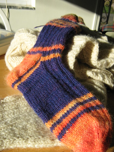 Purple-Tangerine sock #1