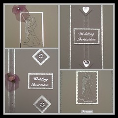 Wedding invitations (crafteelady) Tags: wedding white silver hearts cards groom bride handmade craft invitation ribbon crafty gems