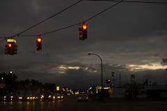 route 17 (Molly Des Jardin) Tags: road light sunset red sky cars home evening traffic cloudy michigan gray ypsilanti 2008 brilliance washtenaw
