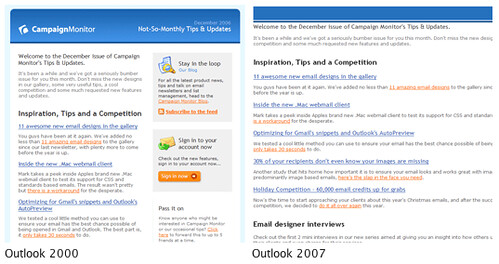 Outlook 2000 vs Outlook 2007