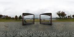 At a rainy day, by a lake (heiwa4126) Tags: park panorama lake japan bench geotagged 360 panoramic chiba handheld hdr 360x180 hdri abiko teganuma ptgui equirectangular hapala enfuse heiwa4126 dynamicphotohdr geo:lat=3586448 geo:lon=1400147678