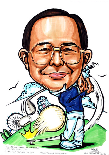 Golfer caricature for Tomen Singapore