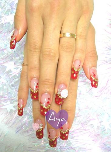 festive girl manicure nail design