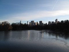 Central Park Skyline (ty law) Tags: park nyc winter newyork water skyline pond dusk centralpark 5thavenue plazahotel citigroup sonybuilding gmbuilding solowbuilding pierrehotel