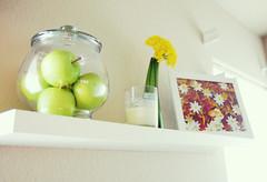 shelved (daisy_princess) Tags: flowers green art yellow wall print candle bowl shelf livingroom frame jar vase apples etsy homedecor boopsiedaisy