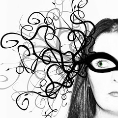 O, what a tangled web we weave when first we practise to deceive... (~aspidistra~) Tags: blackandwhite bw 6 selfportrait face photoshop nikon mask patterns ps explore sp masked fp swirly selectivecolour d90 interestingnesspage therogueplayers