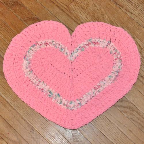 Sweet Pink Heart Crochet Rug