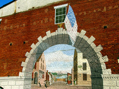 Mural off M Street in Georgetown (Kathleen Tyler Conklin) Tags: brick wall dc washington mural arch flag january georgetown 2008 platinumphoto onlythebestare ktylerconk