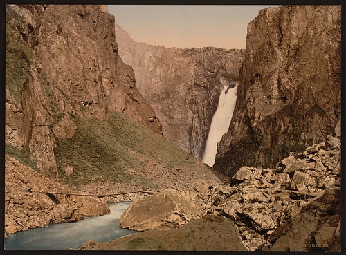 [Vorinfos with bridge, Hardanger Fjord, Norway] (LOC)