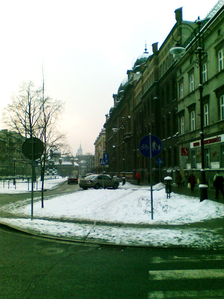 Plac Matejki - droga rowerowa / separated bike path