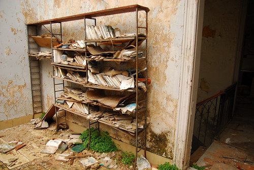 Rotting Books in Beirut Mansion