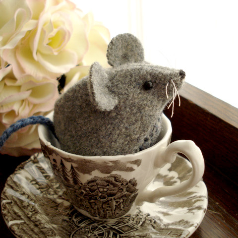 Recycled Wool Mouse Softie in a Teacup by Ferragamo Studio.