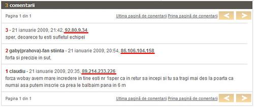 Comentarii cu IP-ul la vedere