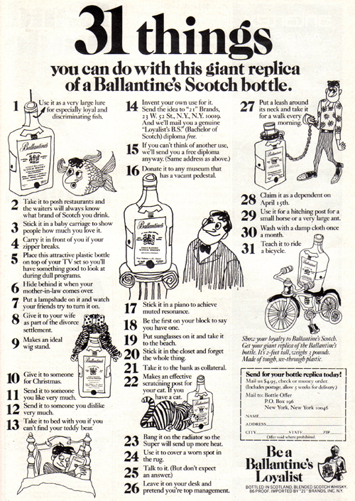Vintage Ad #789: 31 Things You Can Do With a Giant Replica Bottle of Booze