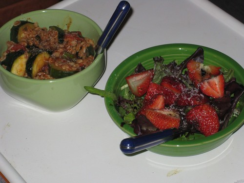 Zucchini & asparagus faro, strawberry salad