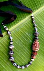 scottish designer (Mzuri beads) Tags: bananaleaf barkcloth cowhorn paperbeads ethicalfashion ribbonnecklace recycledjewelry fairtradejewelry naturalbeads fairtradebeads ugandanbeads ecojewellery ethicalbeads mzuribeads ugandanjewelry kirstiemaclean