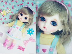 rabbit heart (Cyristine) Tags: pink cute girl yellow ball toys miniatures doll heart pastel adorable tiny kawaii belle bjd jointed lati