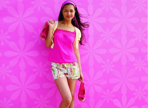 フリー画像|人物写真|女性ポートレイト|アジア女性|桃色/ピンク|フリー素材|