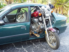 Motorcycle in a Car (BobbiWired ~ MyWiredImagination) Tags: family car roadtrip yamaha virago mortorcycle