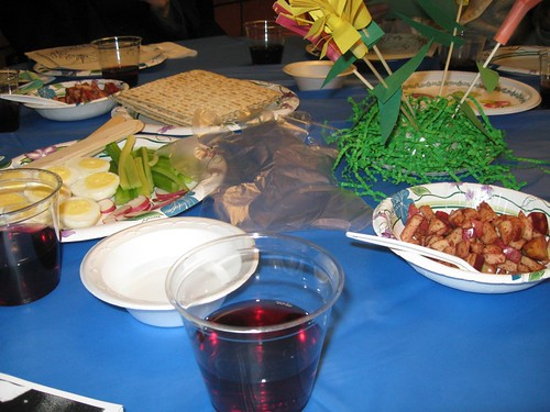 The Passover table at school