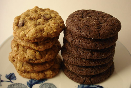 Chocolate Oatmeal Peanut Butter & Ginger Chocolate Cookies