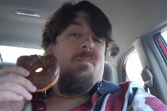 We Demanded Donuts: Enjoyment (earthdog) Tags: food self flickr armslength donut 2008 edible chocolateglazed chocolateglazeddonut dayofthedonut upcoming:event=472136 wedemanddonut needscamera needslens