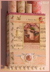 Vintage Wallpaper Wall Box (Boxwoodcottage) Tags: old pink flowers wallpaper music bird leaves vintage paper dresden postcard velvet cameo sheet yoyo millinery ledger pompomfringe