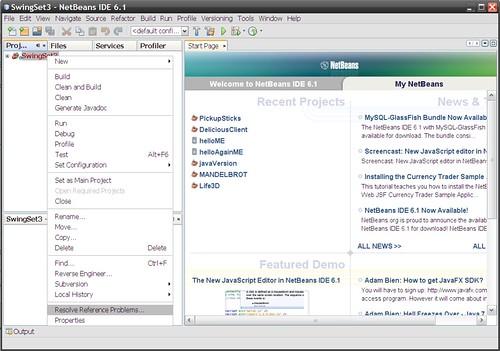 NetBeans Project menu