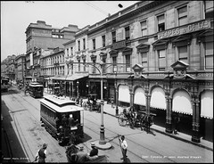 George Street near Hunter Street, Sydney (Powerhouse Museum Collection) Tags: horse retail architecture buildings carriage cities australia business vehicles transportation shops roads trams georgestreet streetscape awnings drygoods powerhousemuseum streetsweeper carriages horseandbuggy clothingstore wynyard sydneynsw walladvertisments merchantile xmlns:dc=httppurlorgdcelements11 dc:identifier=httpwwwpowerhousemuseumcomcollectiondatabaseirn28262 peapesandcoltd electrictrolleys blockboy peapes