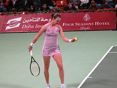voskoboeva prepares to serve (monmonch) Tags: sexy beautiful tennis wtf galina voskoboeva serves khalifastadium womentennis qatartotalopen qataropen