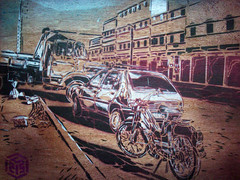 C215 - Street in Mirleft (C215) Tags: streetart art french landscape graffiti stencil christian 103 peugeot chantier 205 pochoir masacara szablon c215 schablon gumy piantillas guemy