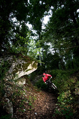 Freeride in the forest (raoulteflouze) Tags: bike switzerland flash mountainbike downhill trail biking mountainbiking freeride vtt pliades