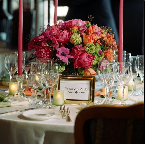 Centerpiece, wedding centerpiece<br />Corals, chartreuse, hot pink meld beatifully. Peony, Anemone, Viburnam, Roses, wedding invitation, flowers, photos