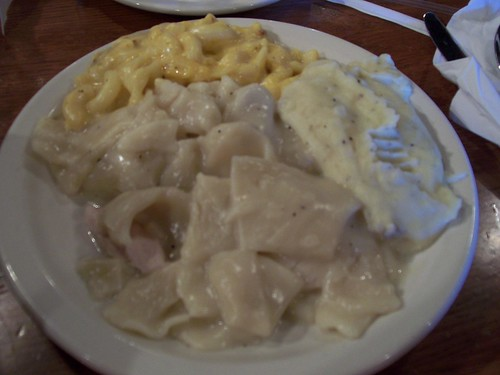 Chicken Dumplings, mashed potatoes and mac&cheese