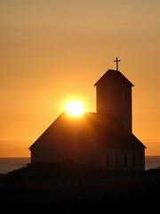 Holy light (Kristin Sig) Tags: sunset church iceland cross holy kirkja slsetur garakirkja