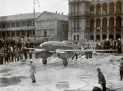 "DH 88 Comet ""Grosvenor House"" G-ACSS moved into Martin Place to a spot near the Sun-Telegraph Building, Elizabeth Street, for public display (adults 1s, children 3d)"