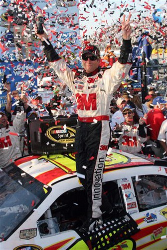 Greg Biffle celebrates Sprint Cup victory with the 3M Rousch Racing Ford Fusion at Dover