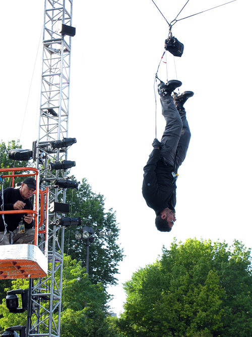 David Blaine hangs upside down in Central Park, Manhattan, NYC