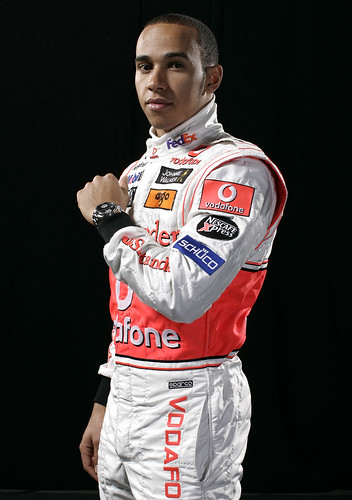 F1 Lewis Hamilton with TAG Heuer watch