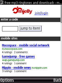 mjelly mobile site - home page
